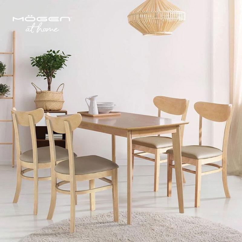 Bộ Bàn Ăn Siver 4 Ghế màu gỗ tự nhiên