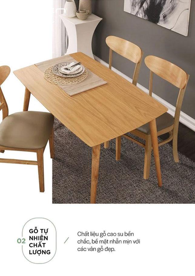 chất liệu mặt bàn ăn gỗ