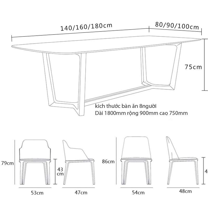 Kích thước bàn 8 người đến 10 người