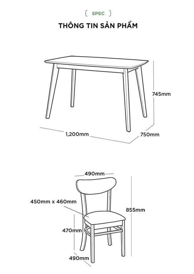 kích thước ghế ăn,bàn ăn