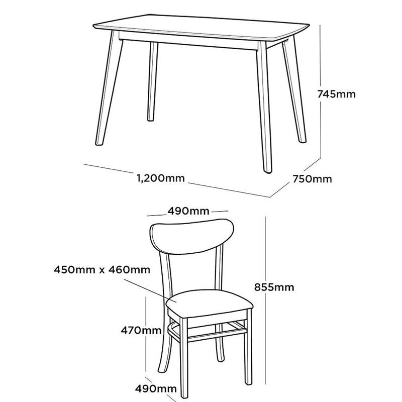 kích thước bàn ghế ăn mango