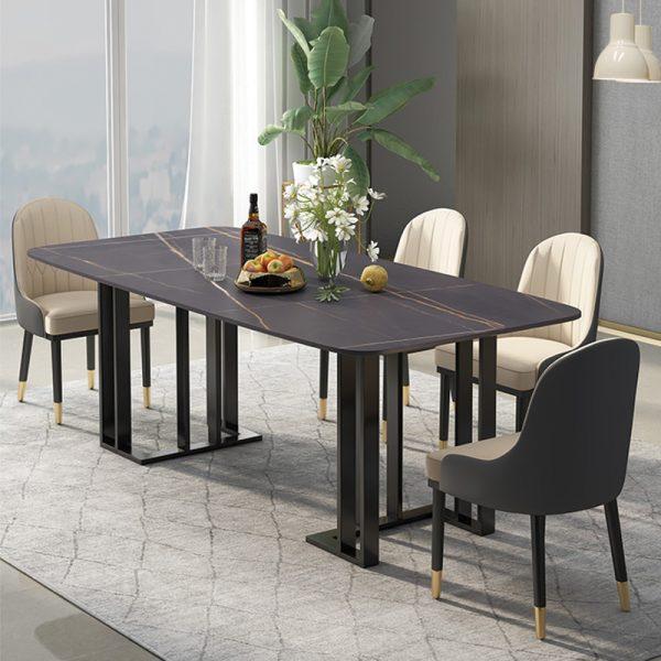 bàn ăn mặt đá đen chân đen