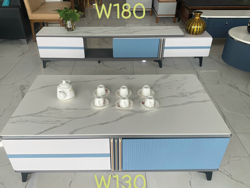 mẫu bàn kệ tivi mặt đá vân 3D trắng