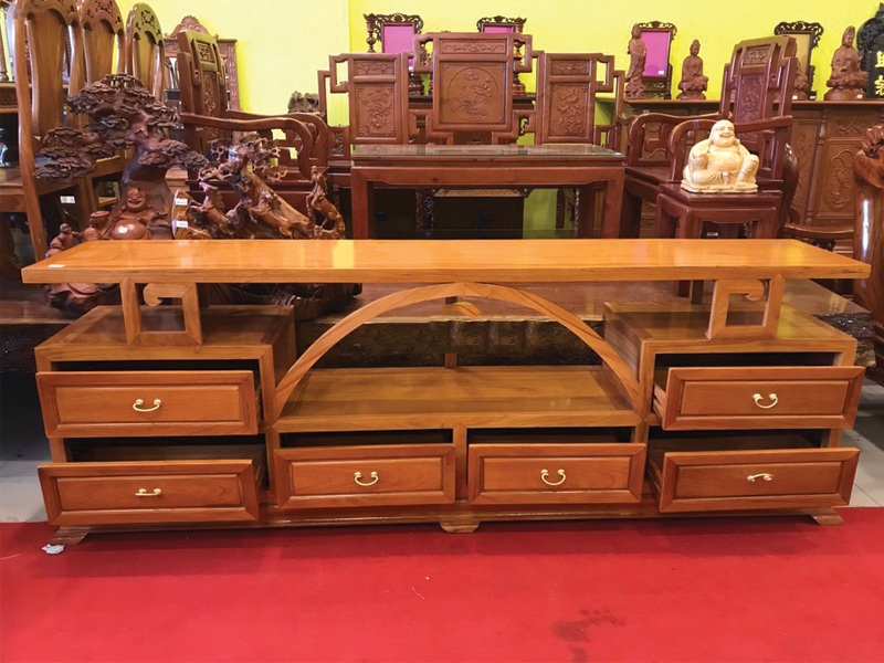 mẫu kệ gỗ sồi nhiều ngăn kéo