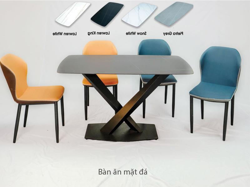 bộ bàn mặt đá đen ceramic khung thép sơn tĩnh điện