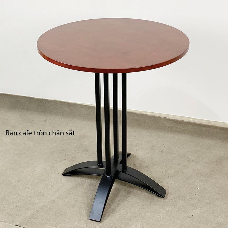 bàn tròn mặt gỗ sơn màu óc chó