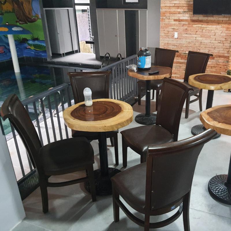bàn cafe tròn gỗ me tây