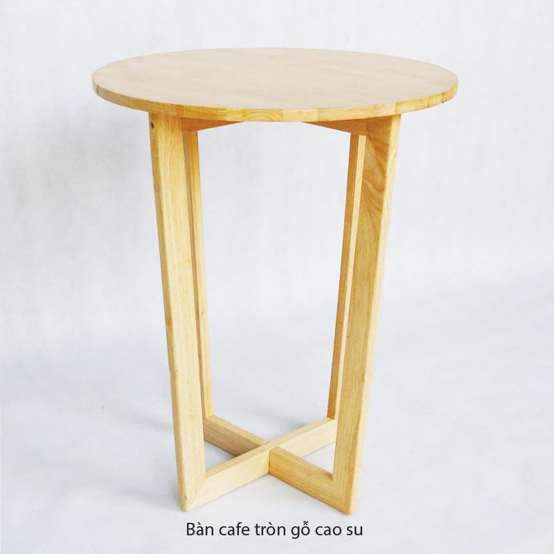 Bàn Tròn cafe chân gỗ cao su