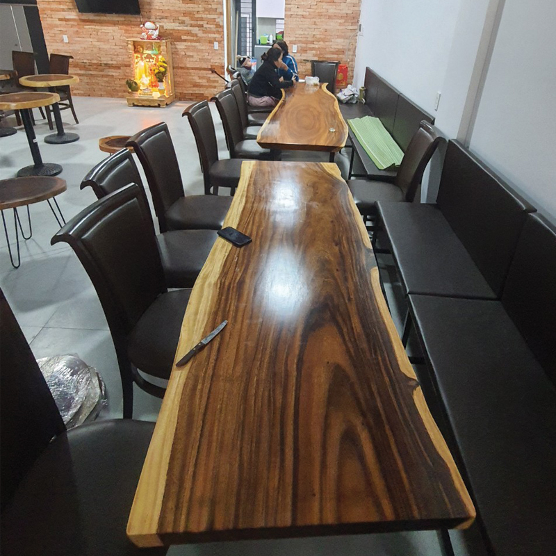 Bàn Cafe Gỗ Nguyên tấm Me Tây nguyên tấm gỗ dài