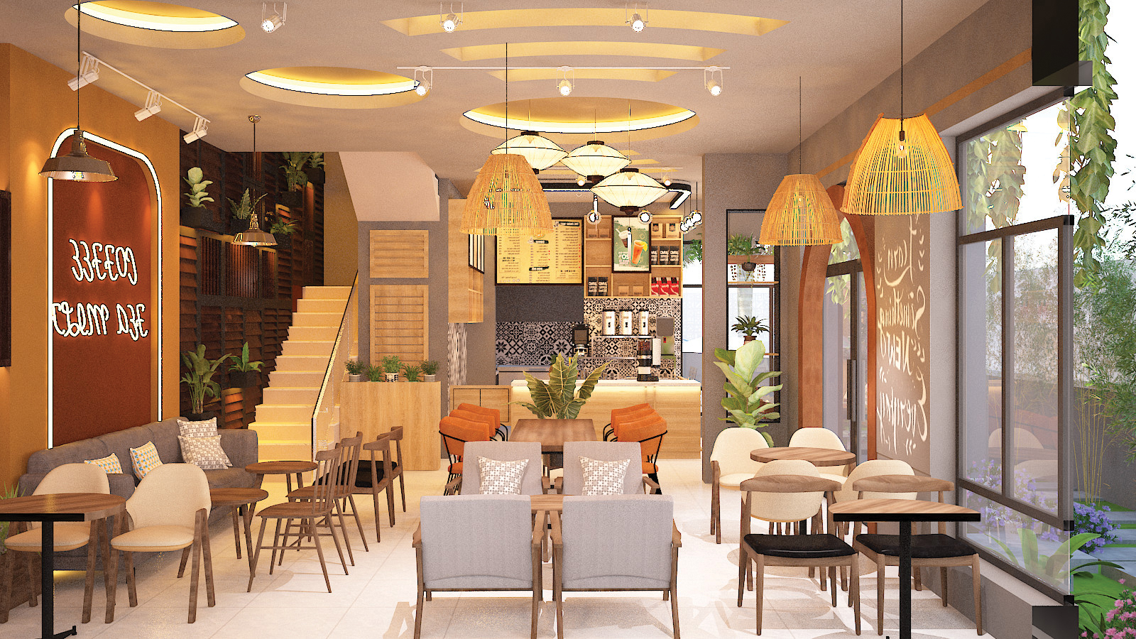 bàn ghế trong quán cafe