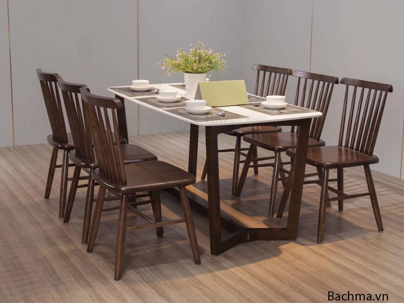 Bộ Bàn ăn 6 ghế gỗ sồi mặt đá dài 1m8