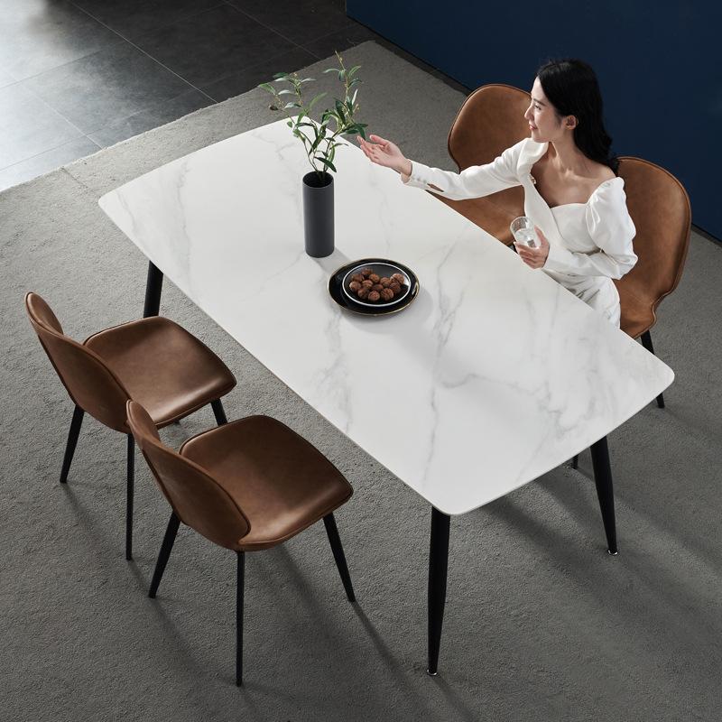 bộ bàn ăn 4 ghế ăn mặt đá vân mây 3D