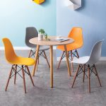 Bộ bàn tròn mặt màu gỗ
