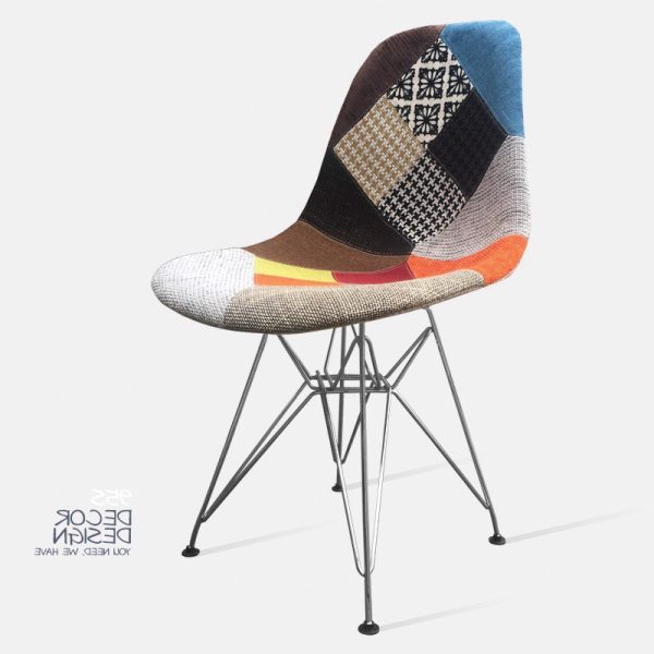 ghế eames thổ cẩm chân inox