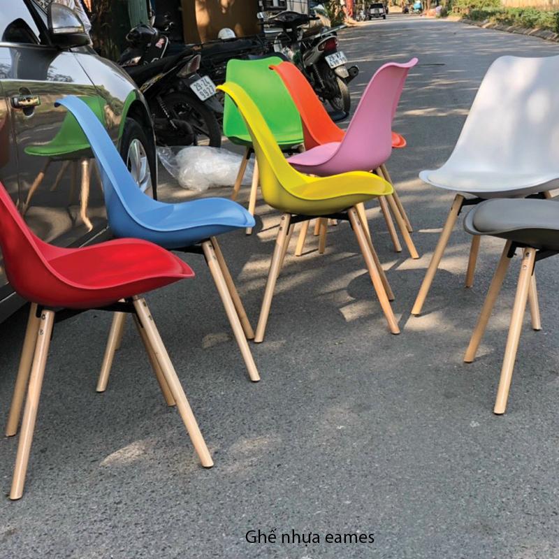 màu sắc dòng ghế nhựa cafe chân gỗ