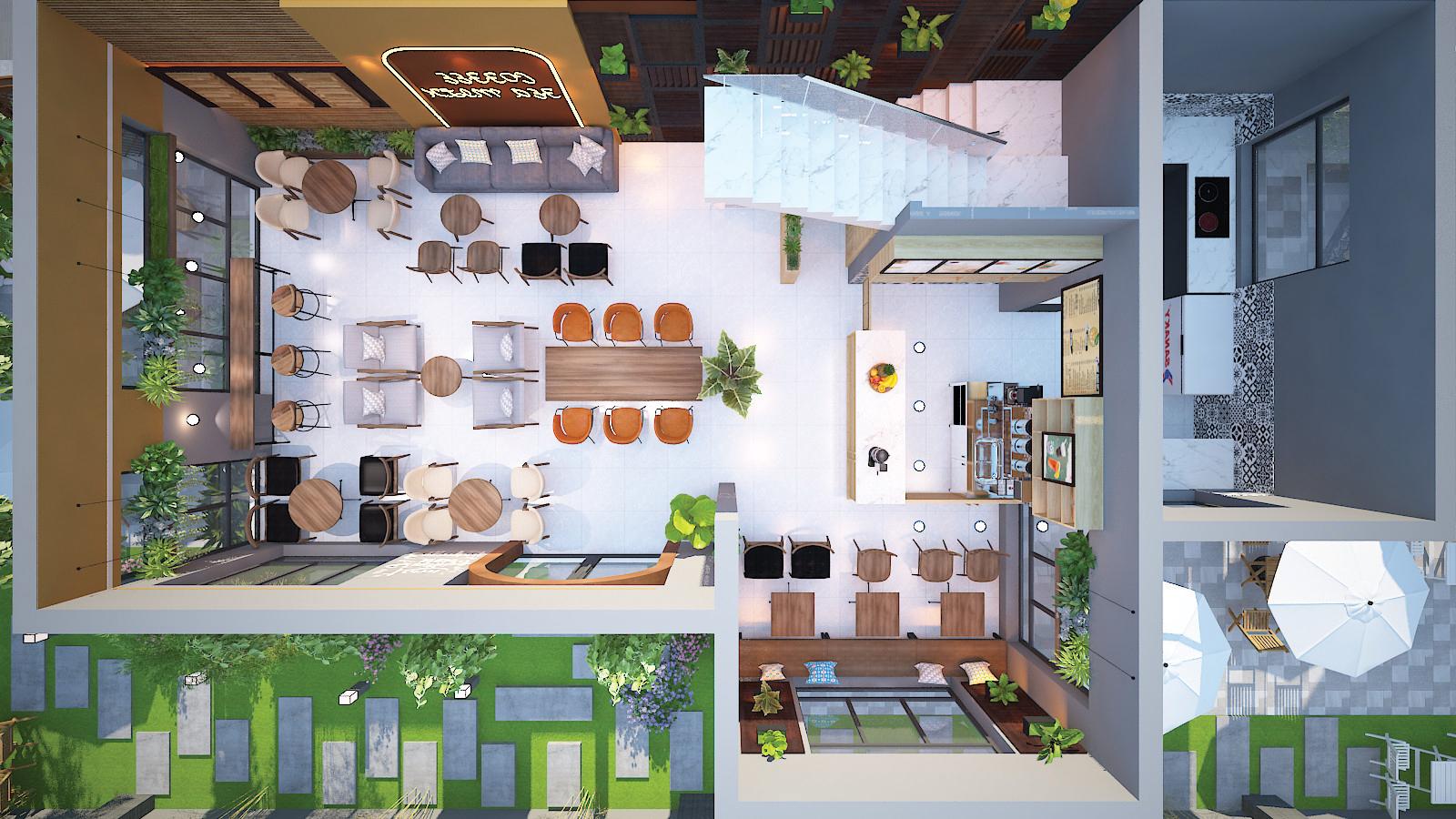 không gian tổng thể nội thất quán cafe