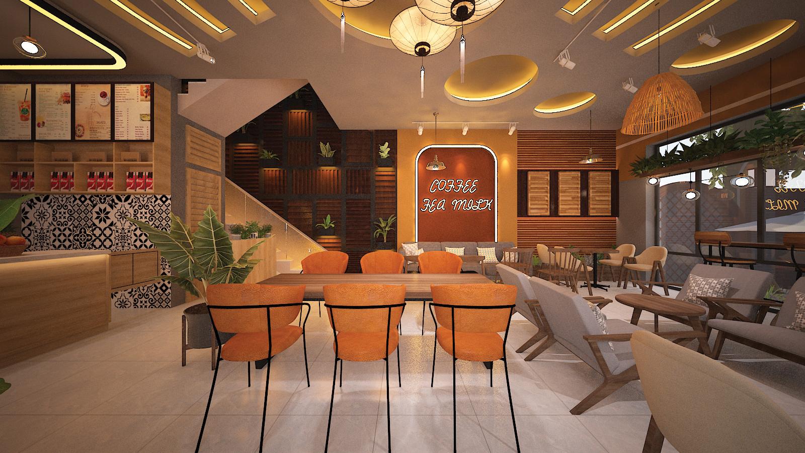 không gian nội thất khu vực ngồi của quán cafe