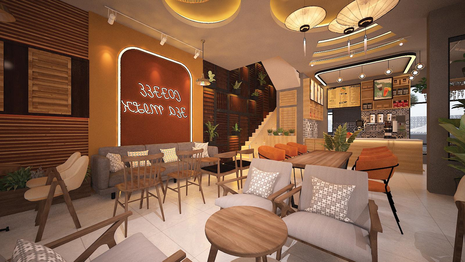 không gian nội thất giữa quán cafe