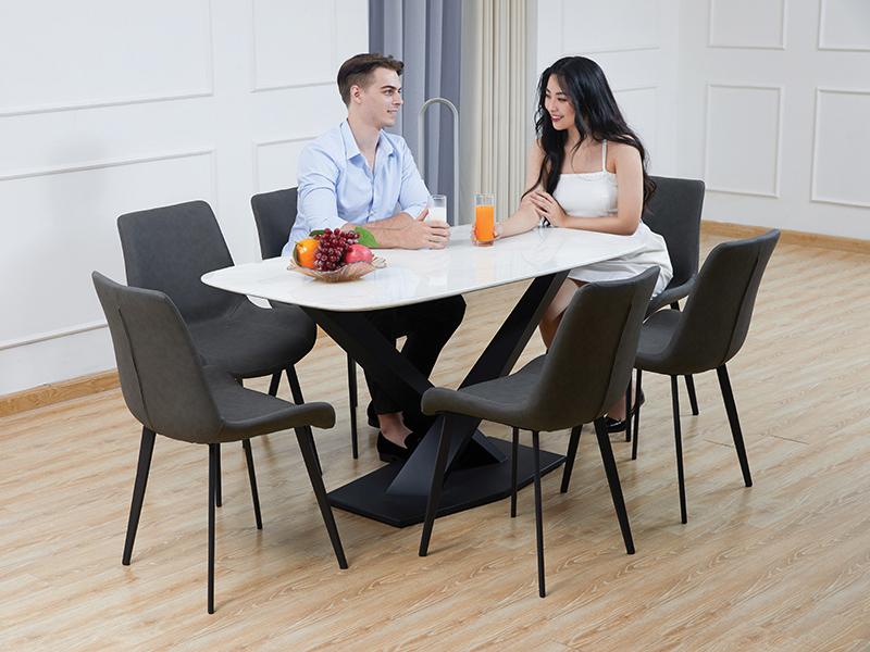 bộ bàn ăn mặt đá ghế nelson nhập khẩu