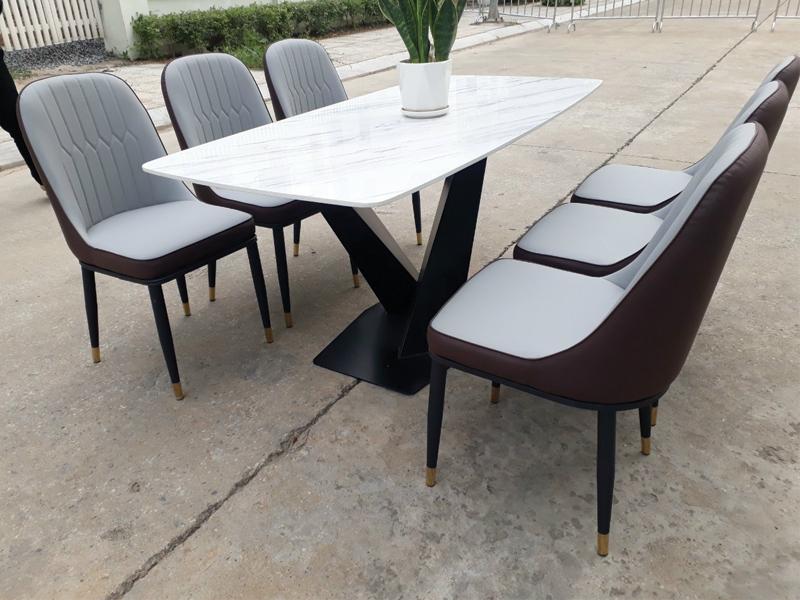 bộ 6 ghế mặt đá cẩm thạch