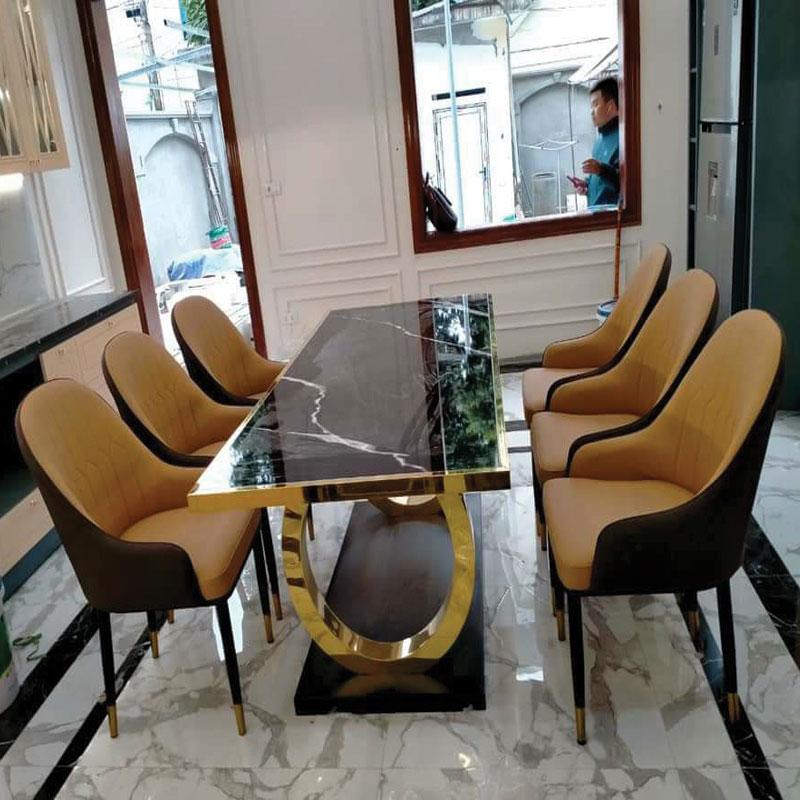 bộ bàn khung chân Inox mạ vàng PVD