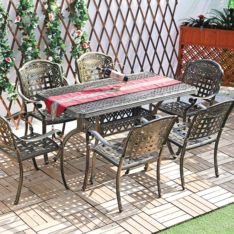 Bộ bàn ăn ngoài trời 6 ghế nhôm đúc