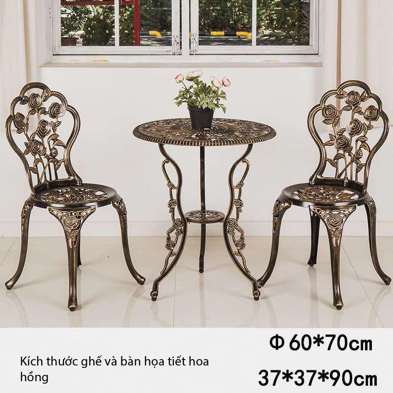 bộ bàn ghế nhôm đúc họa tiết hoa hồng