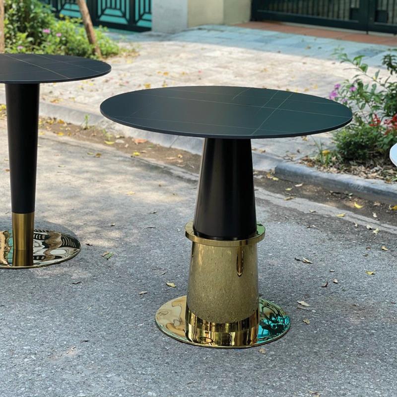 thiết kế bàn đá tròn nhập khẩu mặt đá ceramic đen