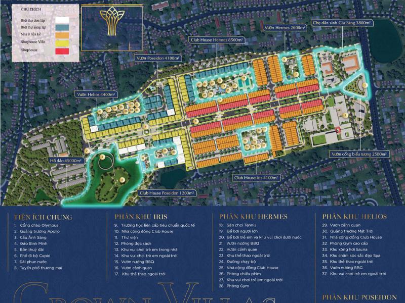 Tiện ích dự án Crown Villas Thái Hưng