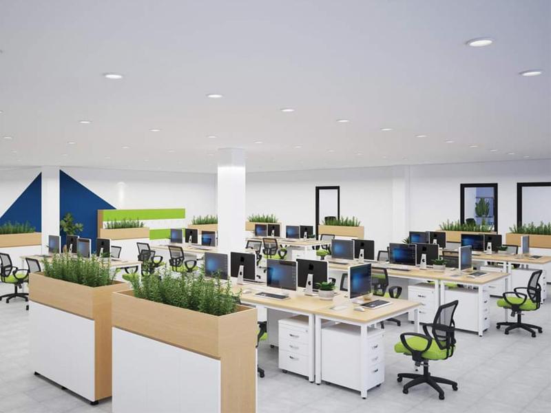 thiết kế khuôn viên bàn ghế nhân viên