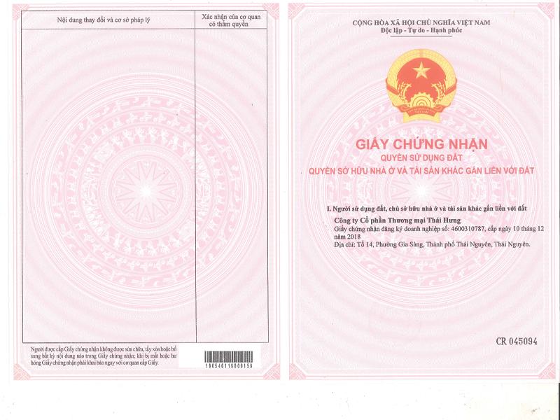 Thông tin pháp lý dự án chủ đầu tư Thái Hưng