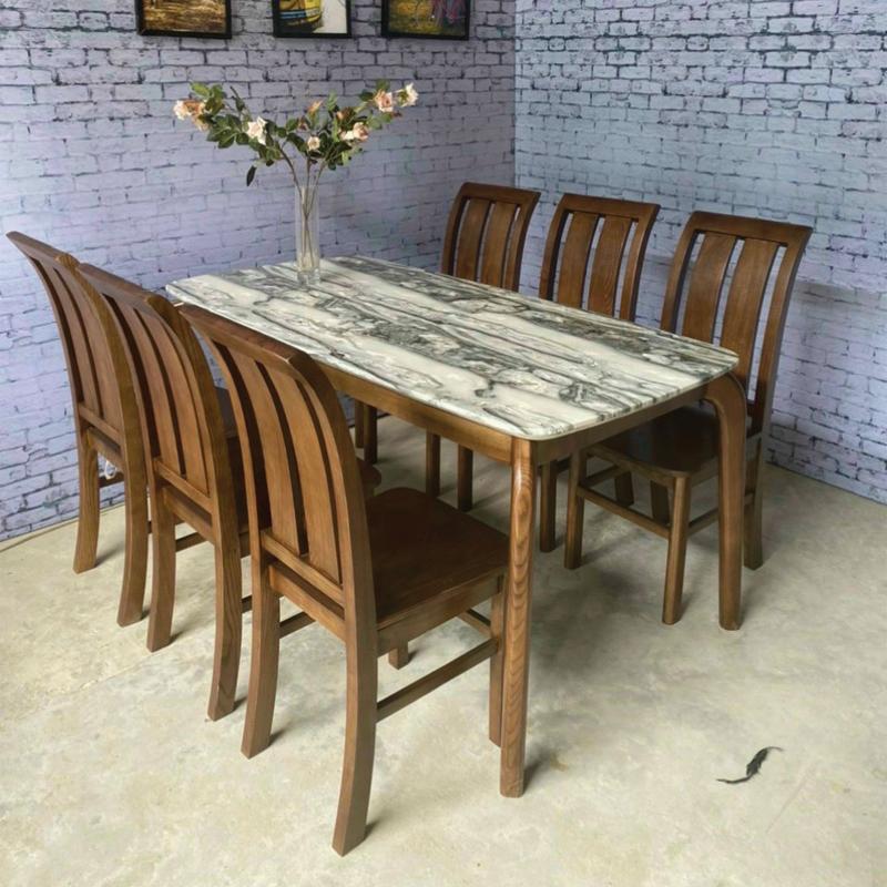 mẫu bàn khung chân gỗ mặt đá dài 1m6