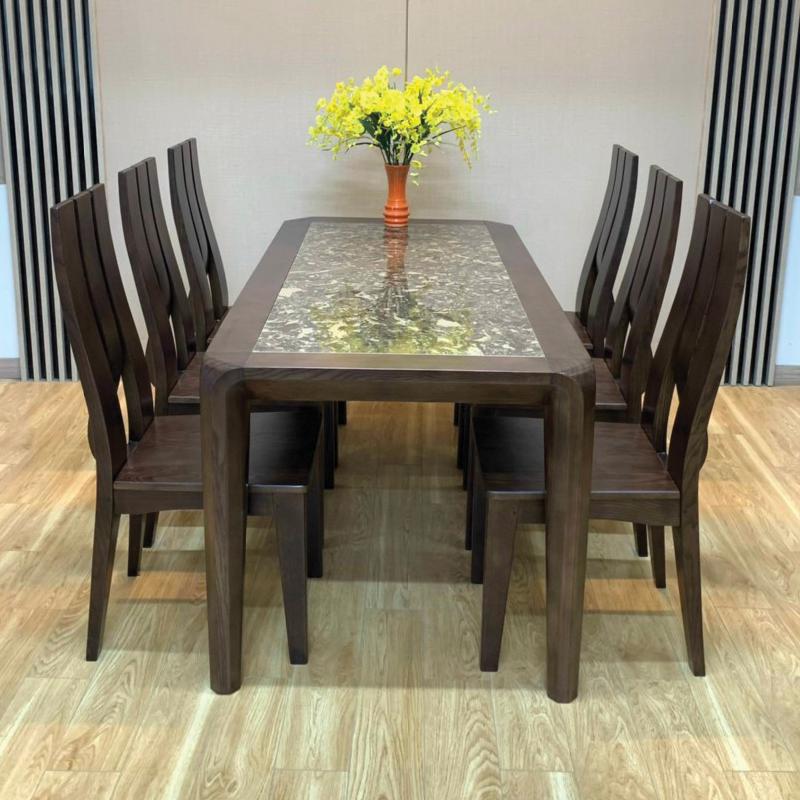 mẫu bàn mặt đá 6 ghế thiết kế phong cách bắc âu